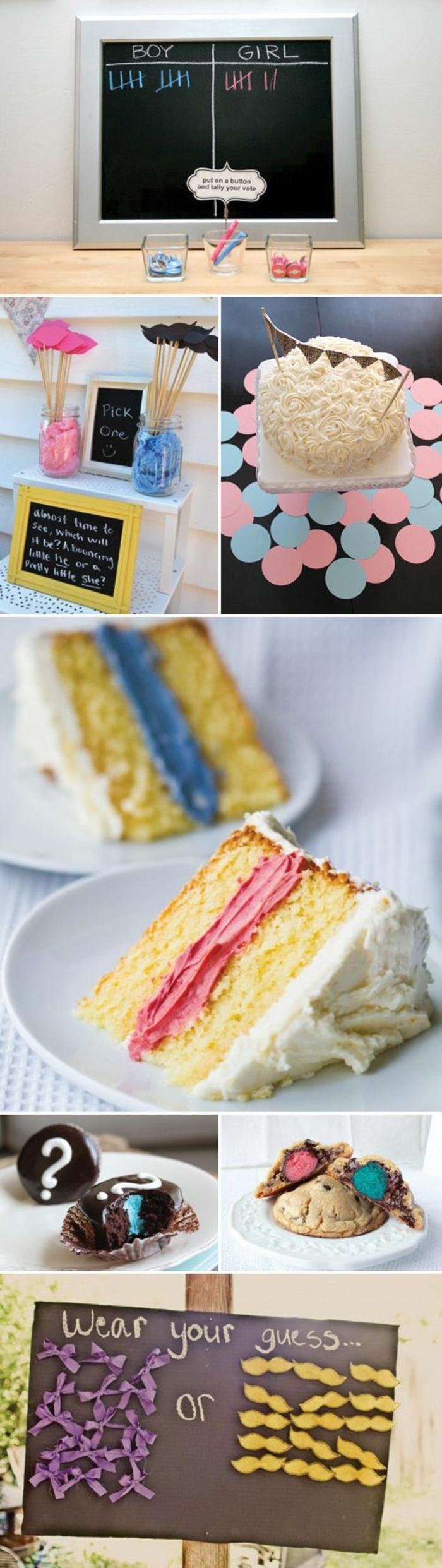 un gâteau suprrise, un gateau baby shower qui révèle le sexe du bébé