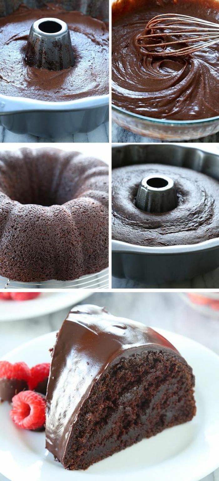 gateau chocolat sans oeufs avec beaucoup de cacao, garni de fraises