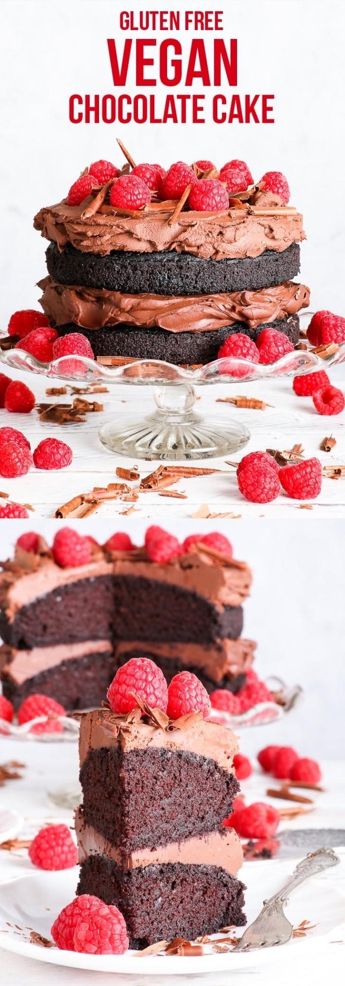comment préparer un dessert sans oeufs, idée gâteau d'anniversaire au chocolat et framboise facile, gateau au chocolat sans oeuf