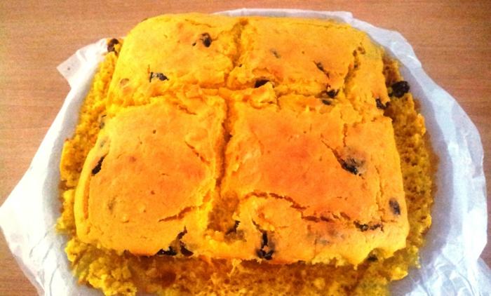 gateau sans oeuf, desset joli sans oeufs et sans beurre à la couleur jaune