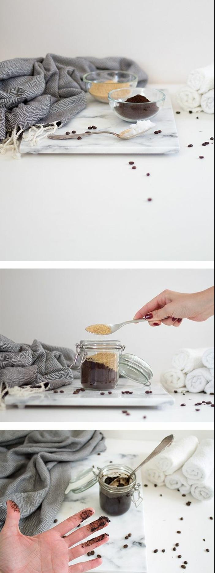 recette de gommage corps fait maison au sucre de canne et au café, gommage à effet anti-cellulite