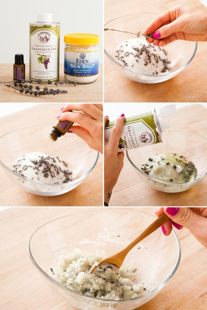 comment fait un gommage corps au sel de mer et à la lavande, recette simple et facile à réaliser à quatre ingrédients