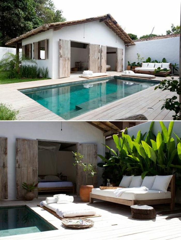 """un entourage piscine en bois naturelle qui s""""accorde avec les portes de grange et la déco blanche"""