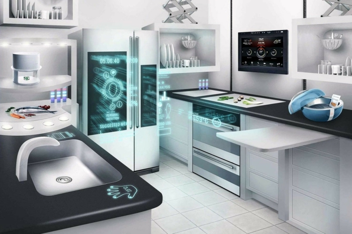 idée home staging, moderniser son logis avec technology smart, modèle de cuisine intelligente