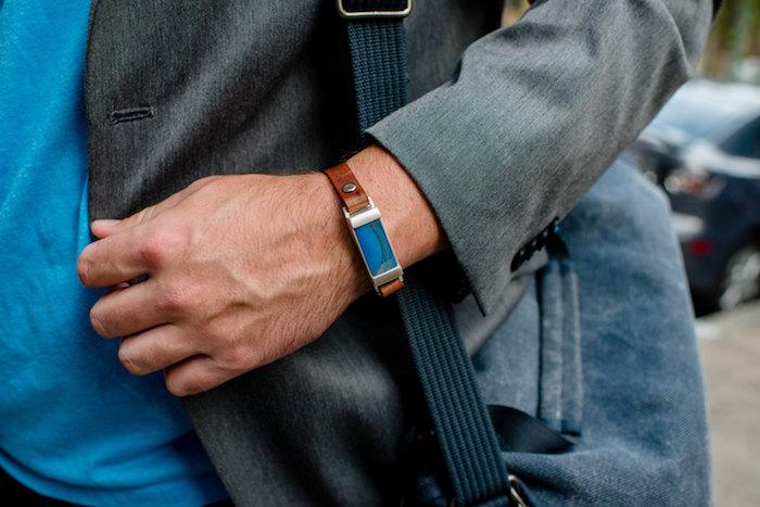 bracelet homme luxe pierre bleue et cuir