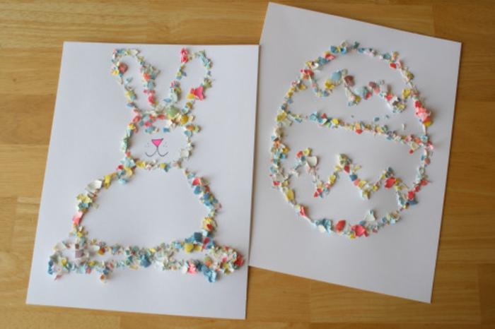 exemple activité manuelle maternelle, dessins réalisés à l aide de morceaux de coquille oeuf, lapin de paques, oeuf de paques