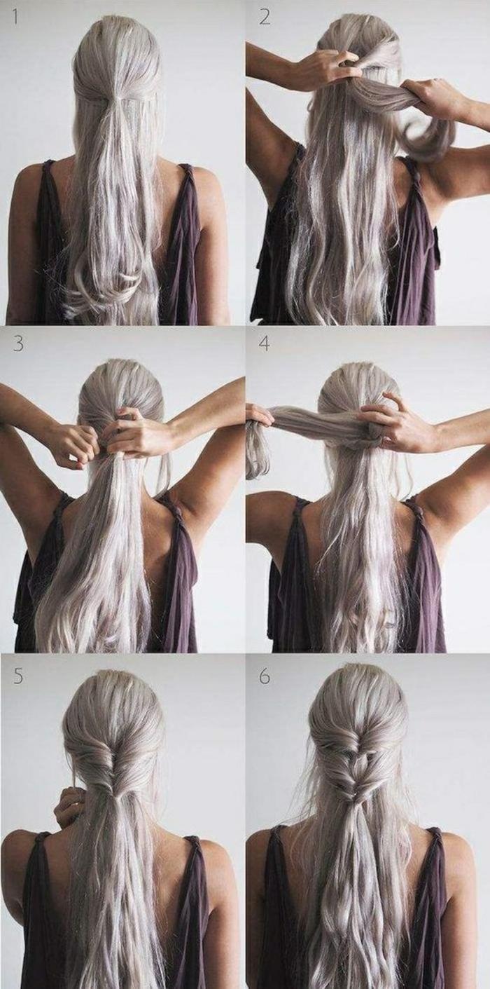Mariage coiffure mariée bohème chic coiffure attachée tutoriel cheveux longs