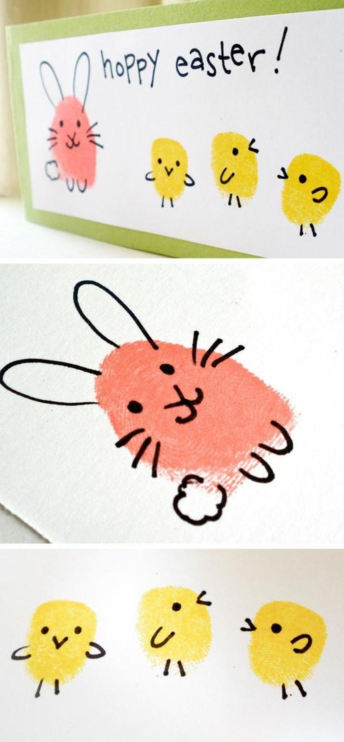carte joyeuse paques, poussins jaunes, lapin rose dessin enfant, idée activité manuelle paques maternelle, carte verte, fond blanc