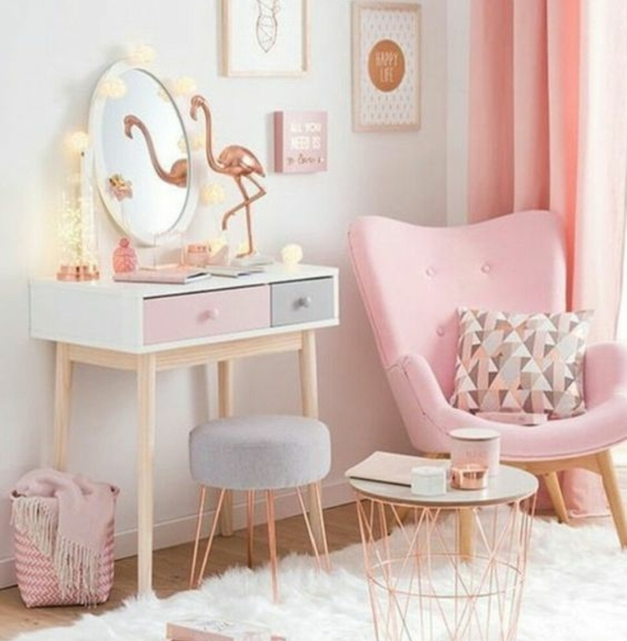 chambre rose bonbon et blanc. Black Bedroom Furniture Sets. Home Design Ideas
