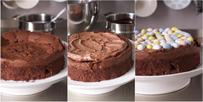 idée de dessert de paques, recette nid de paques au chocolat, garni d oeufs sucrés, idée comment faire un gateau de paques classique