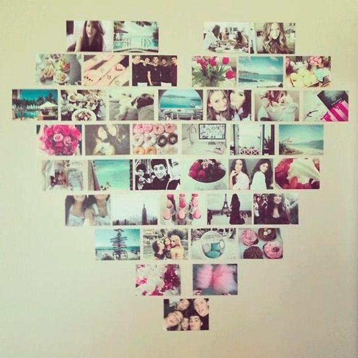 astuce deco fait maison, pele mele de photos, disposées en forme de coeur, photos souvenirs, amitié, exemple comment décorer sa chambre