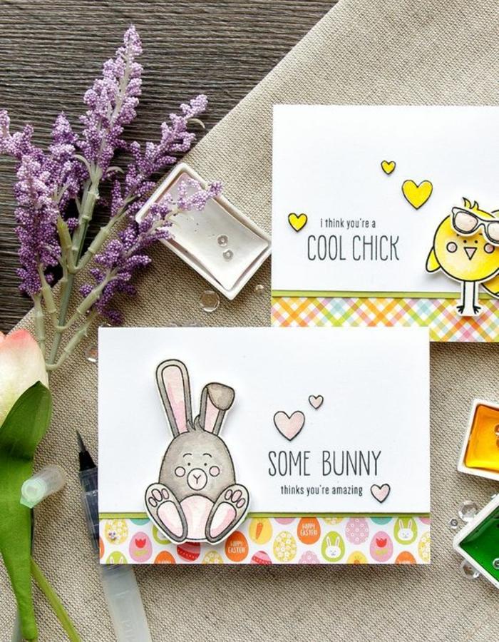 joyeuse paques carte, oeuf de paques, lapin de paques, bordure motifs multicolores, joyeuse paques humour, idée comment faire une carte de voeux originale