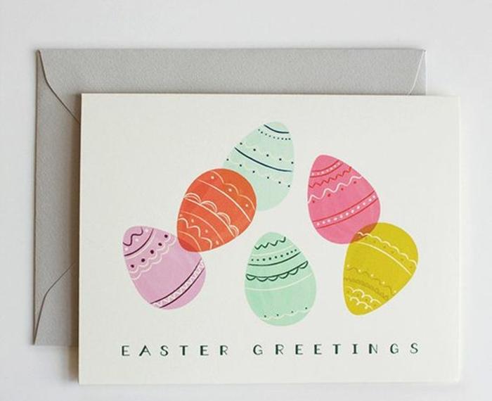 oeufs de paques multicolores sur une carte blanche, joyeuse paques, couleur orange, rose, jaune, vert, carte de voeux classique