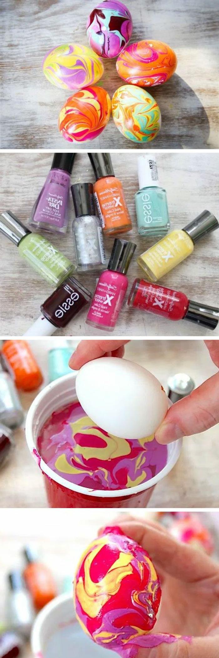 Oeufs de paques a decorer diy idée chouette nail polish déco avec vernis d'ongles colorer oeufs Paque