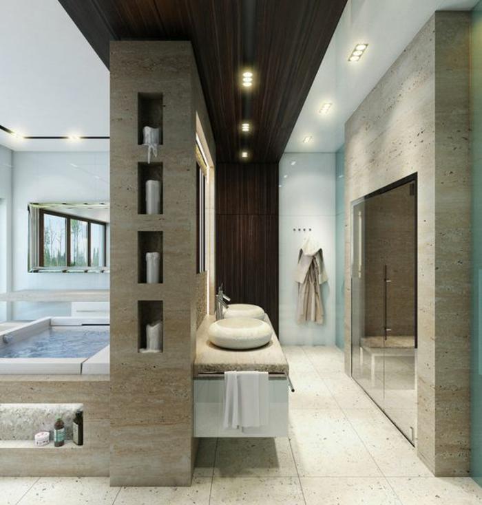 Superbe salle de bain avec douche italienne décoration