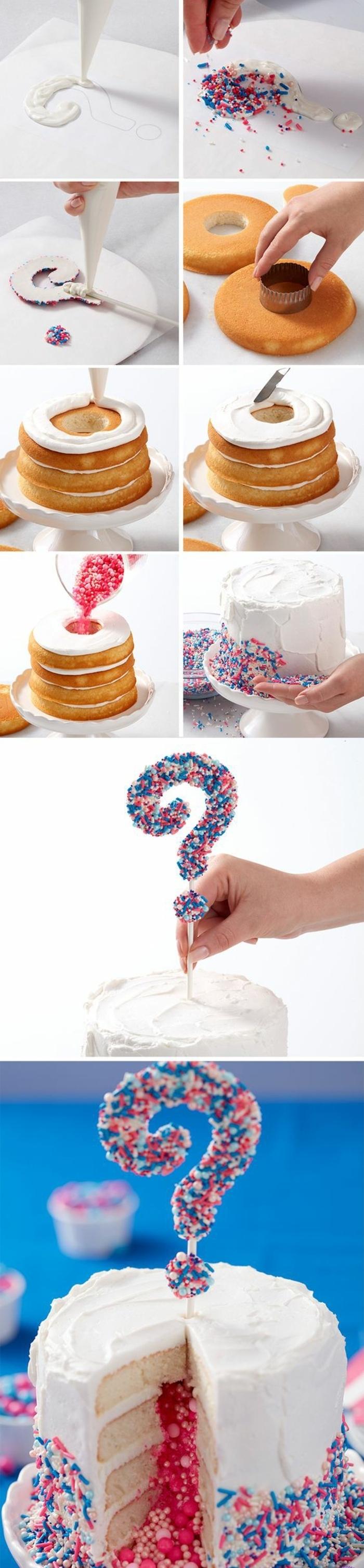 tuto facile pour un gâteau baby shower surprise, fête pour révéler le sexe du bébé