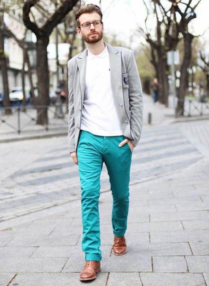 pantalon chino bleu vert homme coupe slim