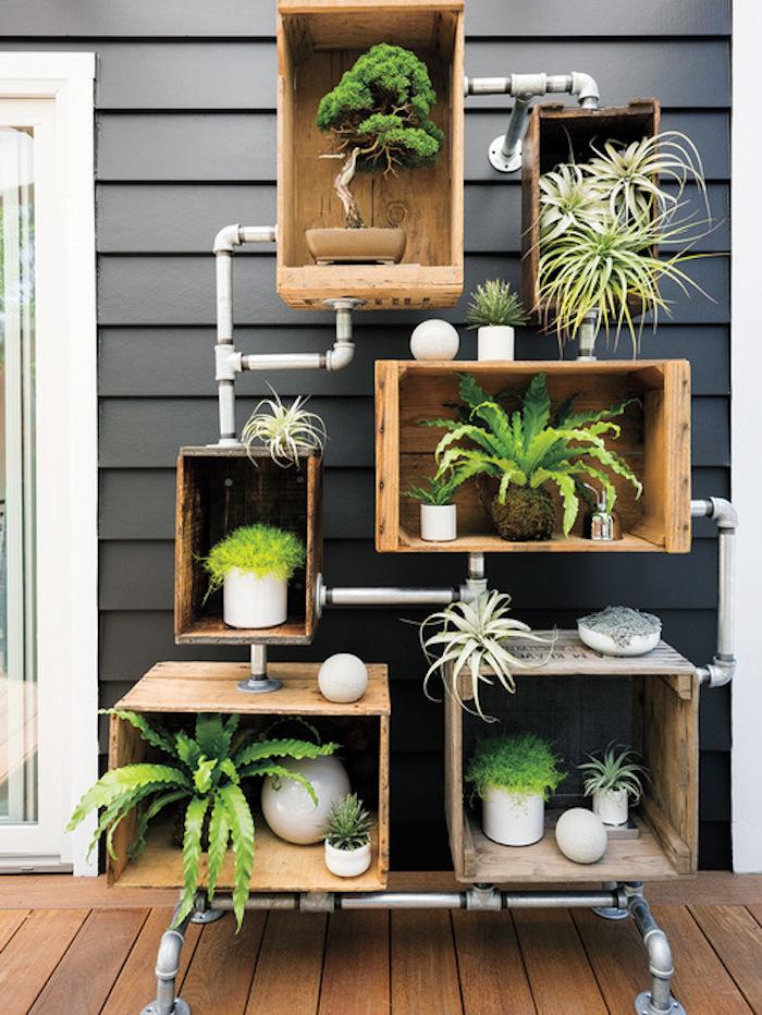 caisse en bois deco casier industriel pour decoration industrielle
