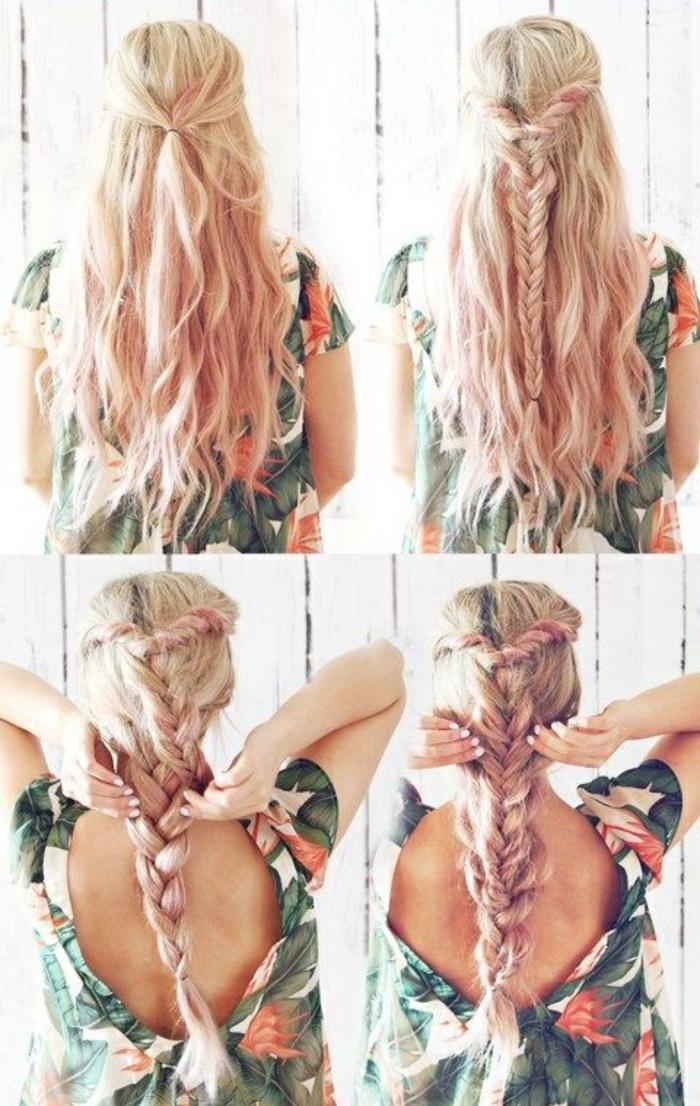 Ravissante coiffure mariée boheme coiffure hippie tresse blond avec balayage rose