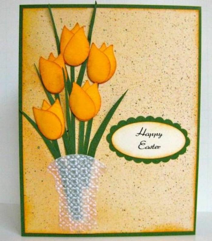 tulupes en papier dans un vase, carte de paques très esthétique, idée activité manuelle paques
