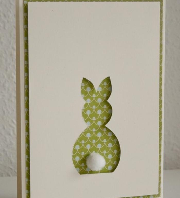 joyeuses paques, carte de paques simple, silhouette lapin de paques, pompon coton en guise de queue