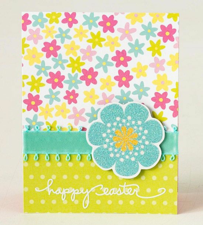 joyeuse paques, carte de voeux multicolore à motifs fleurs, grande fleur bleue, ruban bleue, idée activité manuelle paques