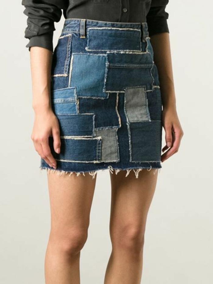 jupe trapeze patchwork dans des nuances du bleu
