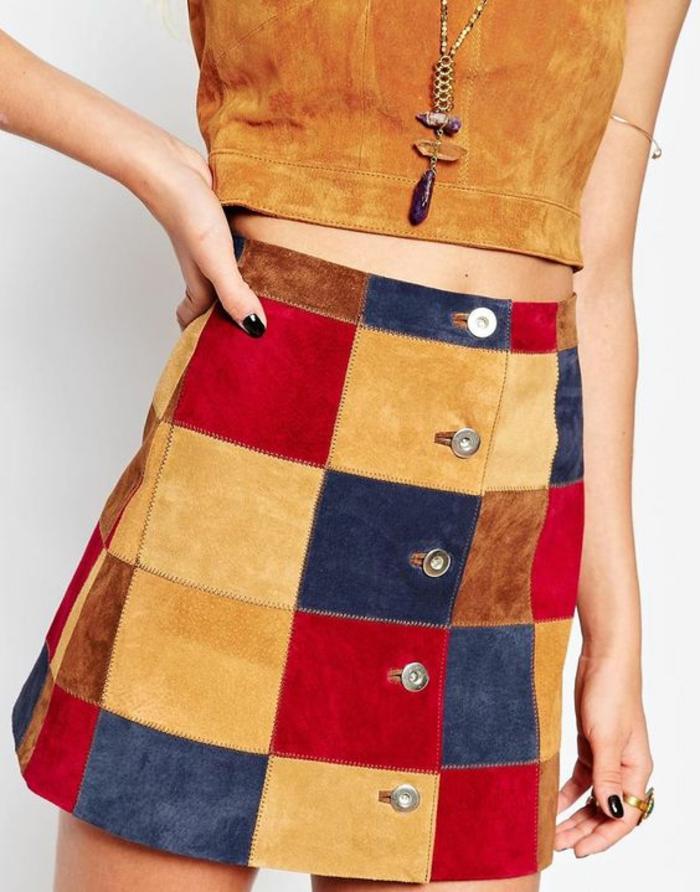 jupes trapeze en patchwork aux couleurs vives taille haute