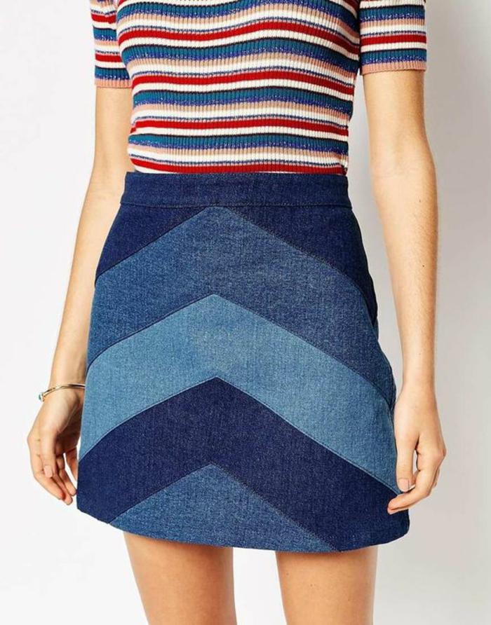 jupes trapeze nuances de bleu rayures en forme d'arrete