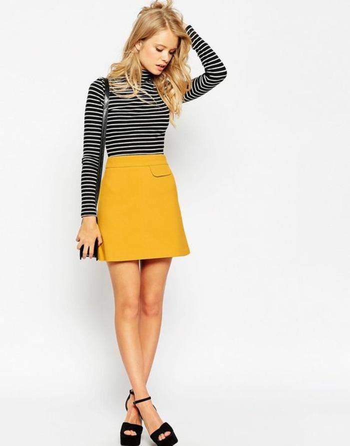 jupe trapèze femme en jaune look juvénile