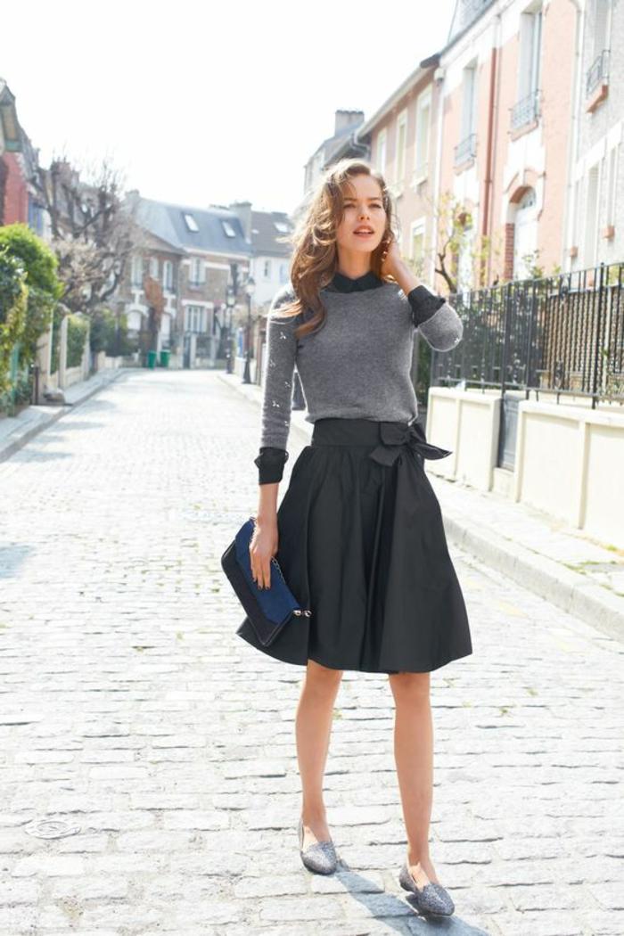jupe trapèze femme en noir avec grand noeud de coté