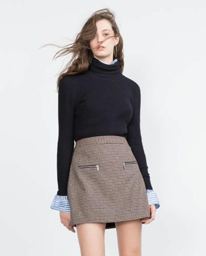 jupe trapèze taille haute avec deux poches avec fermetures éclair