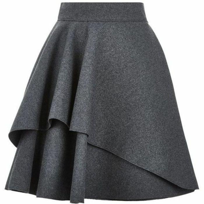 jupe trapèze femme en gris à deux niveaux