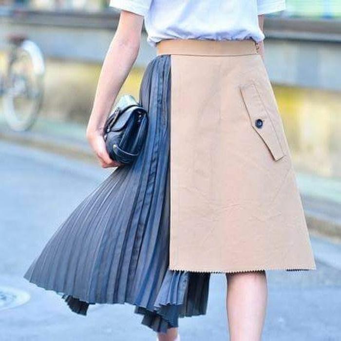 jupe trapèze femme moitié plissée dans une autre matière