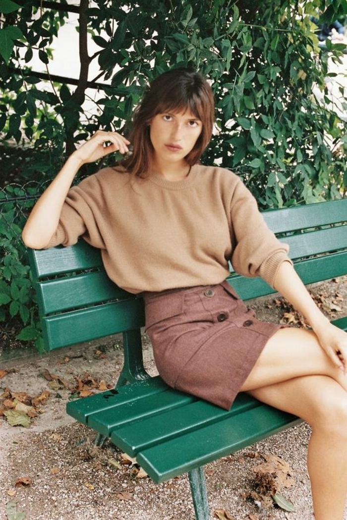 jupe trapèze taille haute couleur brique boutons devant