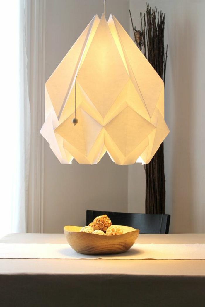 luminaire origami, décoration diy pour le salon, lampe en papier