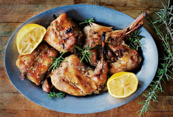 repas de paques, lapin confit, romarin, citrons, viande rôti, idée de plat principal à préparer pour paques