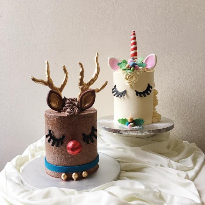 gateau enfant idee gateau décoration anniversaire licorne deux options - chocolat et vanille