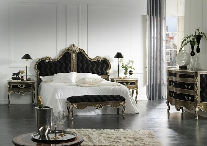 meubles de charme, plancher foncé, tapis moelleux, décoration baroque, murs blancs