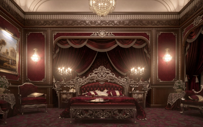 décoration baroque, lustre en cristaux, chambre baroque en rouge, peinture, lit baroque