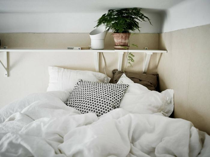 le nid douillet, plante verte, étagère murale en bois, oreillers blancs