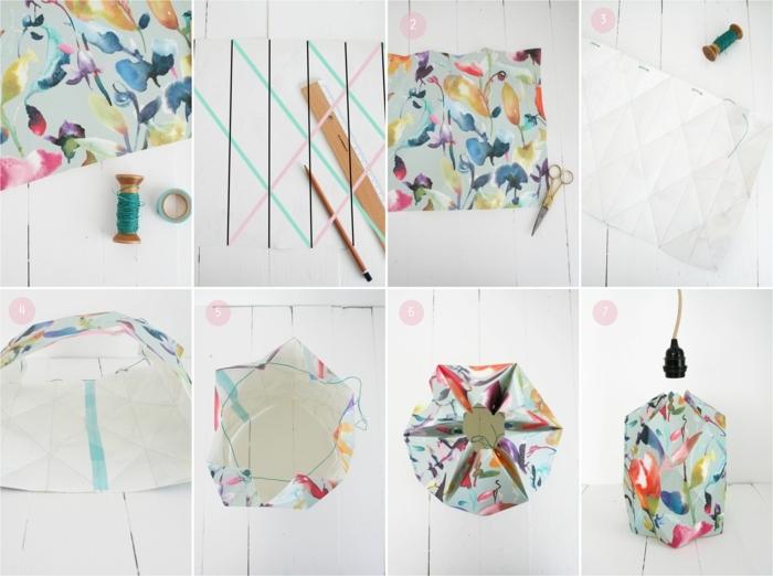 tuto origami, papier peint à motifs floraux, fil turquoise, scotch, règle, crayon, abat jour origami