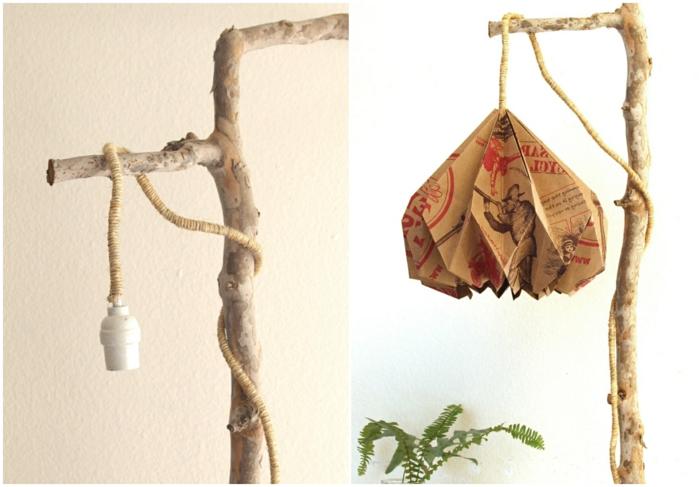 lampe en papier, branchette, sac d'épicerie recyclé, fleur verte