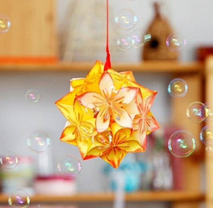 abat jour origami, suspension décorative en papier, fleurs jaunes, lampe origami