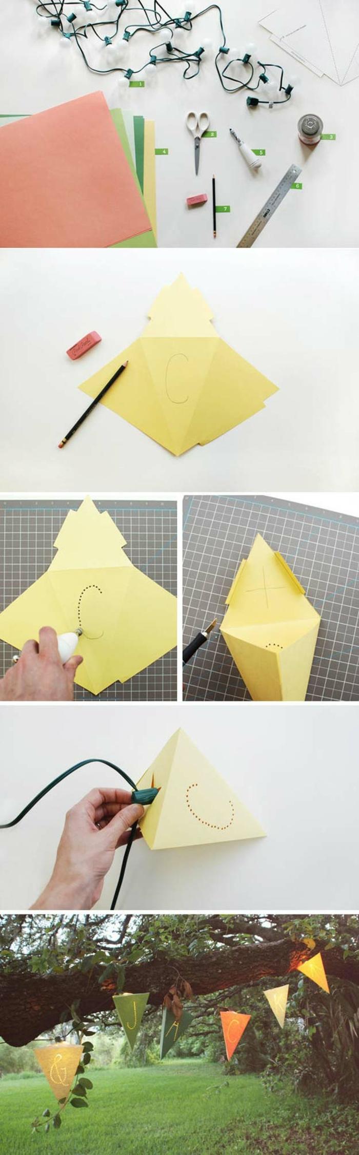 suspension origami, décoration pour une fête, guirlande lumineuse, tuto origami