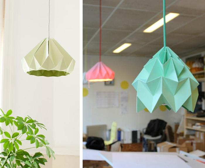 luminaire fait maison, plante verte, décoration diy pour le salon, lampe en papier
