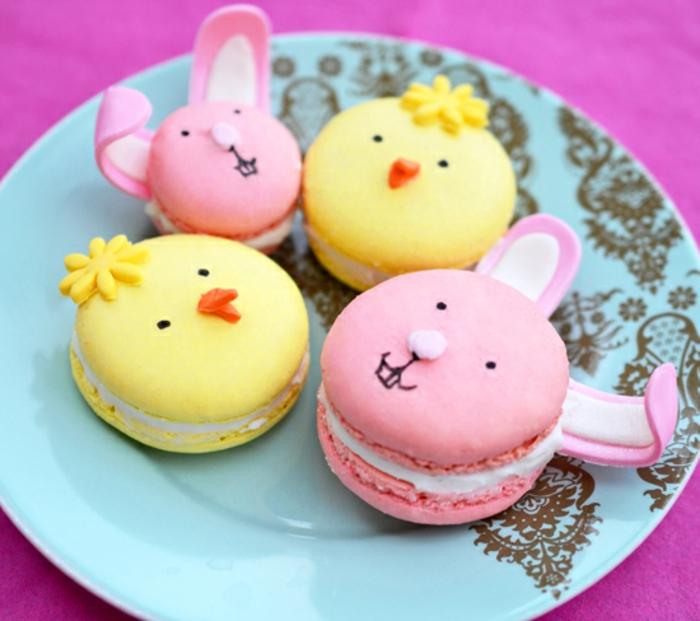 macarons, motif lapin de paques et poussin de paques, idée de dessert de paques facile à faire