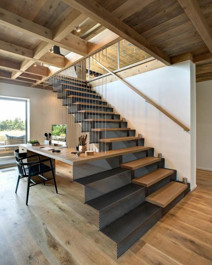 maison minimaliste, maison originale, escalier droit, plans ouverts