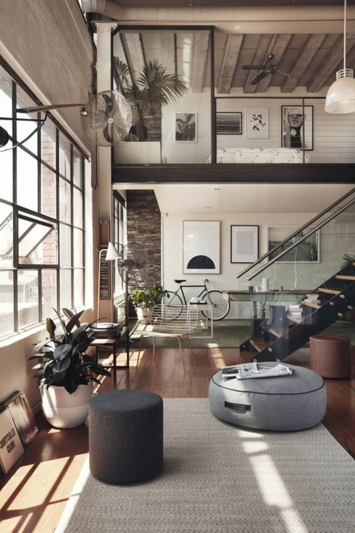 appartement minimaliste, mur vitré, escalier avec mezzanine, photographies et pots de fleurs