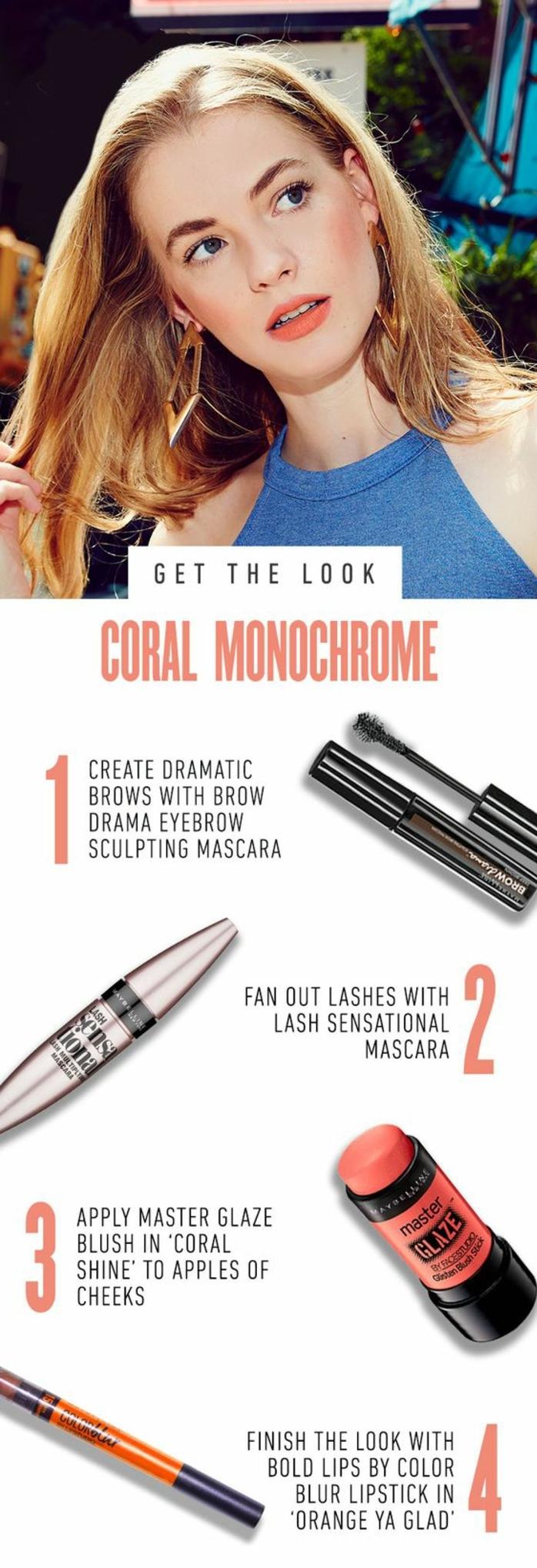 maquillage léger effet corail monochrome, tuto maquillage par Maybelline